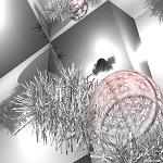 Fondo plata con espumillón y cristales navideños