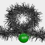 Lazo de espumillón y bolas con fondo transparente para decorar el banner del blog