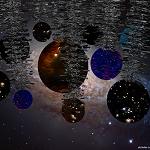 Bolas espaciales con espumillón