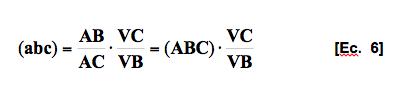 ecuación 6. Relación entre ternas de puntos y rectas