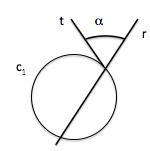 Ángulo entre recta y circunferencia