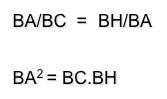 Teorema del cateto ecuación
