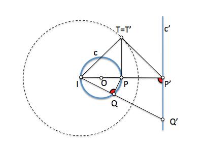 inversión de recta en circunferencia