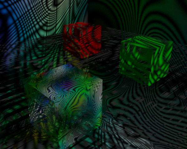 Cubos con texturas transparentes parcialmente