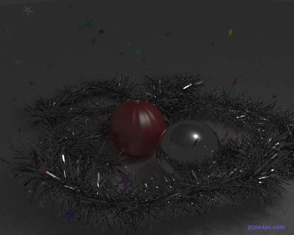 Espumillón de navidad, bolas y estrellas brillantes