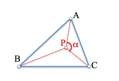 El punto P observa al segmento AC bajo un cierto ángulo
